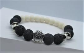 Armband lava - dierenpootje zilver