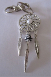 Droomvanger sleutelhanger -Malachiet zwart/wit